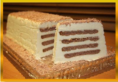 طرز تهیه کیک با بیسکویت و کره, بستنی ، دسر