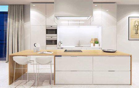 دکوراسیون آشپزخانه با طرح چوب و رنگ سفید, دکوراسیون