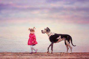 تصاویر زیبا از دوستی بچه ها با سگ های بزرگ, حیوانات