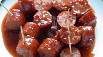 طرز تهیه خوراک سوسیس تند و شیرین فینگرفود