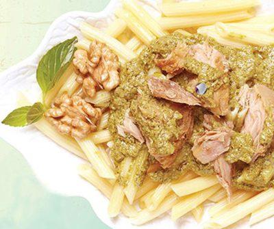 طرز تهیه پاستا با سس پستو و تن ماهی مخصوص روزهای پر مشغله