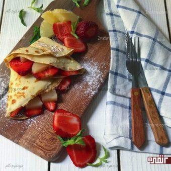روش تهیه کرپ صبحانه با میوه