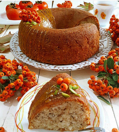 تهیه کیک خرمالو, پخت کیک خرمالو