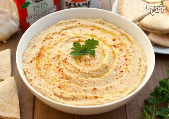 انواع غذای عربی؛ حمص خوشمزه و سالاد فتوش