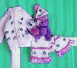 آموزش بافت ژاکت نوزاد با شال و کلاه