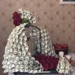تزئین پول به شکل دسته گل